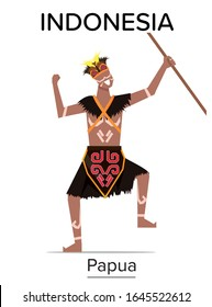 Papuan man wearing Traditional Dress and holding traditional weapon from papua indonesia character vector illustration flat design template, indonesia heritage and ancient folk flat design