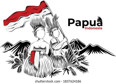 Papuans are waving Indonesian flags. Natural background of Papua province, Indonesia.