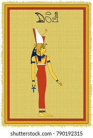 """Papyrus with the image of Mut, ancient egyptian goddess of fertility and his name written in Egyptian hieroglyphs. Vector illustration. Separate layers. Translation of the hieroglyphs """"Mut"""""""