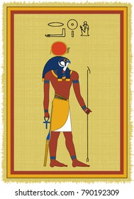 """Papyrus with the image of Ra, ancient egyptian god of sun and his name written in Egyptian hieroglyphs. Vector illustration. Separate layers. Translation of the hieroglyphs """"Ra"""""""
