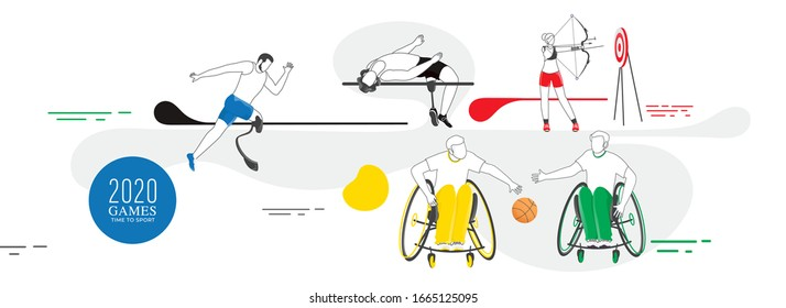 Para Athlete Games Concept with Line-art Athlete Characters.