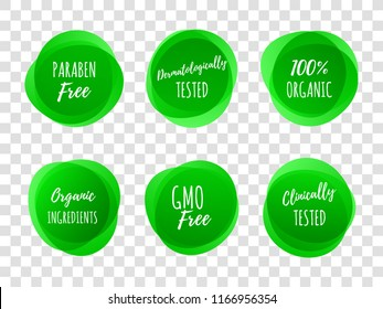 Paraben free green labels or dermatologically and clinically tested with 100 percent organic ingredients. Vector logo icons for healthy and skin safe product package design on transparent background