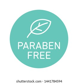 Paraben free icon cosmetic vector label. Vector logo skincare health safe product with no paraben.