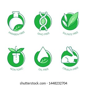 Paraben Free icon set. Set of eco badges. Free from artificial ingredients, pesticide, phosphate logos. For cosmetics, organic food, packaging. Vector illustration