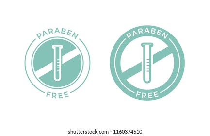 Paraben free label icon for skincare cosmetic shampoo or cream package design. Vector paraben free products logo with no chemical ingredients