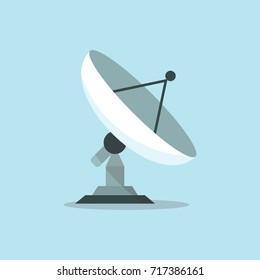 Parabola Satellite Antenna Flat Vector