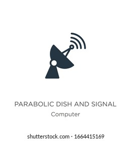 Parabolic dish and signal icon vector. Trendy flat parabolic dish and signal icon from computer collection isolated on white background. Vector illustration can be used for web and mobile graphic
