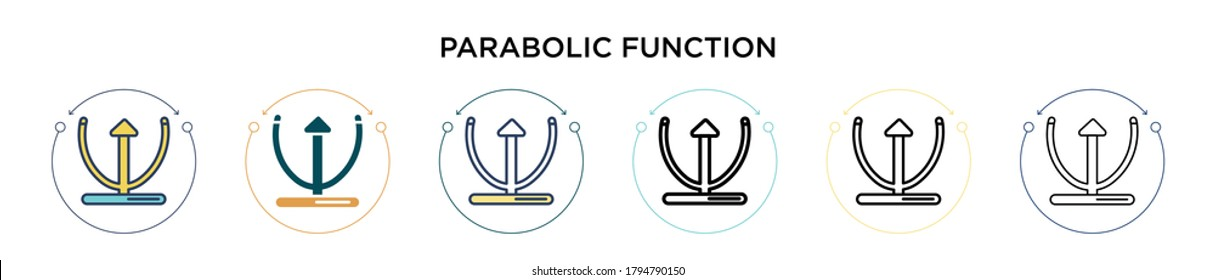 Parabolic function icon in filled, thin line, outline and stroke style. Vector illustration of two colored and black parabolic function vector icons designs can be used for mobile, ui, web