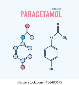 Paracetamol (acetaminophen) analgesic drug molecule.  non-steroidal anti-inflammatory drugs, structural chemical formulas Stylized flat line and conventional skeletal formula.