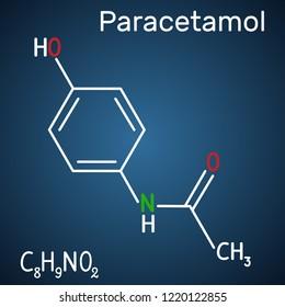 Paracetamol (acetaminophen) drug molecule. Structural chemical formula and molecule model on the dark blue background. Vector illustration