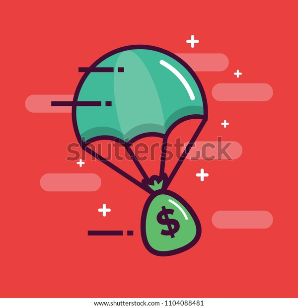 Parachute with A Bag of Money Cash Delivery Concept
