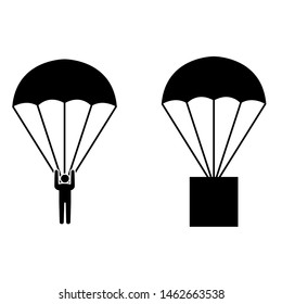 Parachute icon, logo isolated on white background