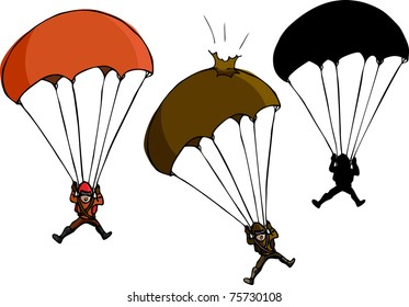 Parachute jumper with damaged parachute and silhouette variations