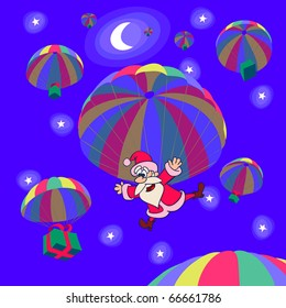 Parachute landing of Santa Clause with a Christmas gifts