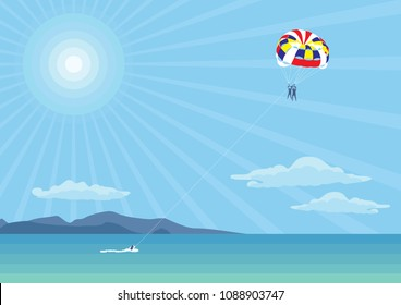Parachute over the sea. Outdoor activities over the sea and mountains.