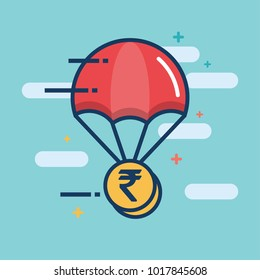 Parachute with Rupee Gold Coin Delivery Concept