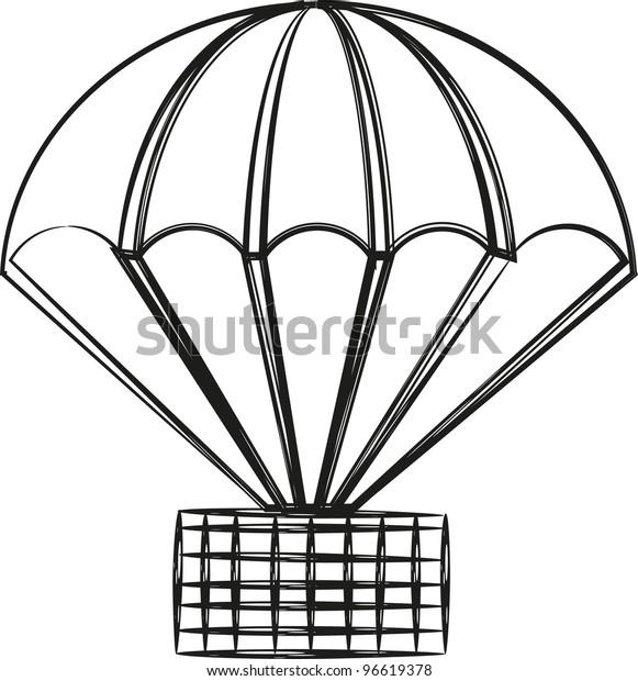 parachute sketch stock vector royalty free 96619378