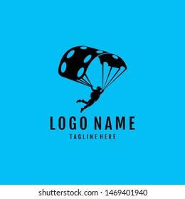 Parachute, sky diving, vector design logo