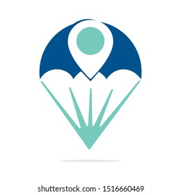 Parachute vector logo with gps pointer design. Parachute and gps icon logotype. Sport star logo design template.