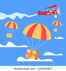 Parachutes with Parcel Boxes Falling Down from Red Retro Airplane in Blue Sky Background with Clouds. Transportation Shipping Package Cargo Service. Air Mail Express Delivery. Flat Vector Illustration