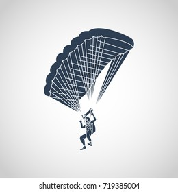 Parachuting vector logo icon illustration