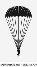 Parachutist black and white vector icon.