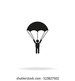 Parachutist flat vector icon isolated on white background.