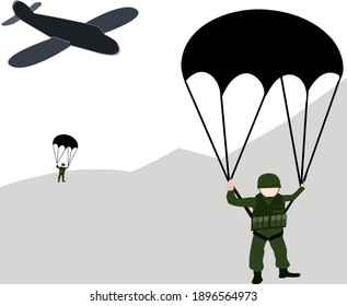 Parachutist, skydiving soldier in the air and in the clouds Vector illustration Military air force cartoon