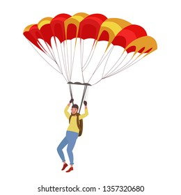 Parachutist. Skydiving. Vector character in kartun style.