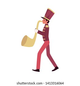 Parade and marching band participant, a red faced saxophone player plays a saxophone or trumpet. Parade musician with a trumpet. Isolated vector man in flat cartoon style on white background.
