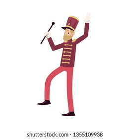 Parade participant, leader marching band and drum major. Bearded parade musician with a rod. Isolated vector man in flat cartoon style on white background.