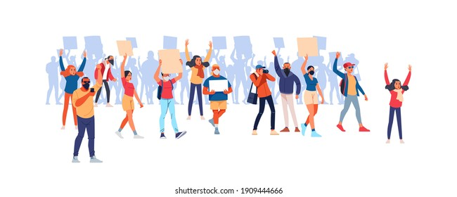 Parade rights, adult picket and strike. Activists with placards, peaceful rights protest, manifestation, men and women parade participation. People hold banners. Cartoon Flat style vector illustration