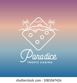 Paradice Tropic Casino Vector Label, Emblem or Logo Template. Line Style Tropic Island Incorporated in The Gambling Dice. Abstract Concept. Gradient Background.