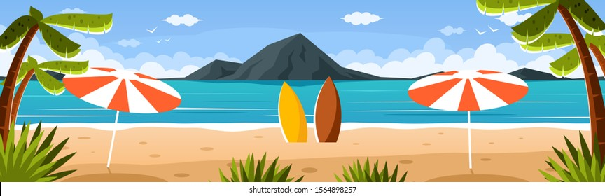 Paradise beach with palm trees and surfboards. Colorful seascape with mountains