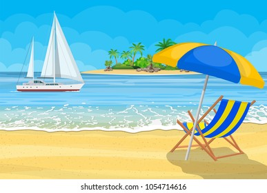Paradise beach of the sea with yachts and palm trees. Tropical island resort. Vector illustration in flat style