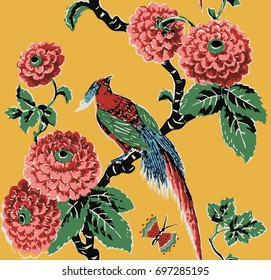 Paradise bird, branch, green leaf, chrysanthemums, paper print, vintage vector