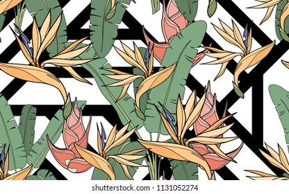 Paradise bird flower, palm leaves and exotic flowers composition. Vector illustration. Botanical seamless background. Digital nature art.