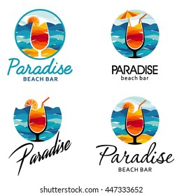 Paradise emblem. Vector logo design of the beach bar, resorts, beaches.