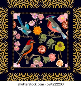 Paradise garden. Silk scarf pattern with fantasy birds, pine branches and flowers. Chinese, Japanese, Korean motifs. Vintage textile collection. Black.
