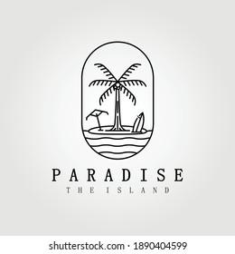 paradise , hawaii , line art palm tree logo vector illustration design graphic