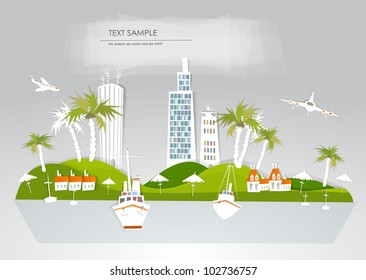 """Paradise hotel travel background """"White city"""" collection"""