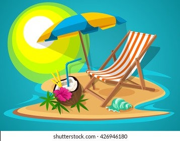 Paradise Island with beach chairs and umbrella