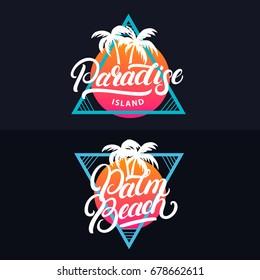 Paradise island hand written lettering tee print. Retro vintage tee print. Dark background. Vector illustration.