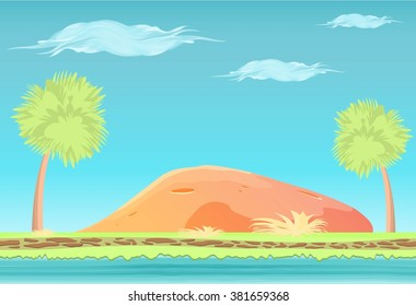 Paradise Island landscape. Game background. Palm trees, water, stone. Cartoon style. Design for mobile games.