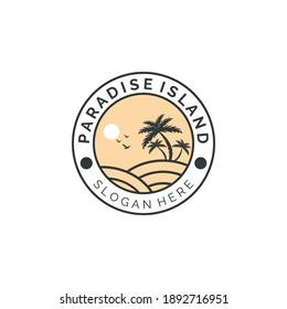paradise island vintage emblem logo vector illustration template design, coconut tree color logo
