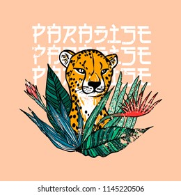 Paradise slogan. Leopard with flowers. Typography graphic print, fashion drawing for t-shirts. Vector stickers,print, patches vintage
