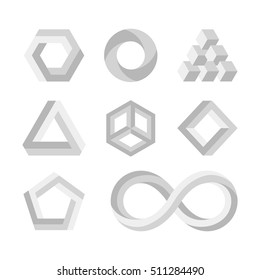 Paradox impossible shapes, 3d twisted objects, vector math symbols. Visual impossible style, illustration of geometry impossible loop for logo