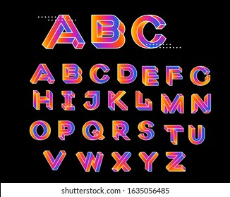Paradox shape font. Impossible Letters. Set of vector letters constructed on the basis of paradox isometric view. Vector illustration 10 eps