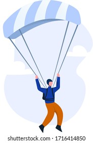 Paraglider flying on a gliding parachute. The concept of paragliding as an extreme sport and an ultralight glider Design of adventure, hobby, free glide in the sky.