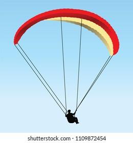 paragliding. art, vector